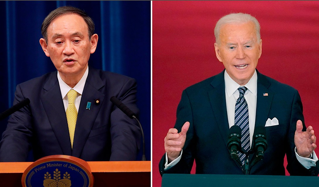 Suga chega aos EUA para cúpula com Biden