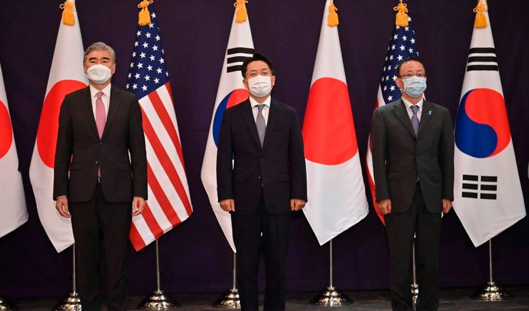 EUA, Japão e Coreia do Sul concordam em continuar a cooperação com a Coreia do Norte